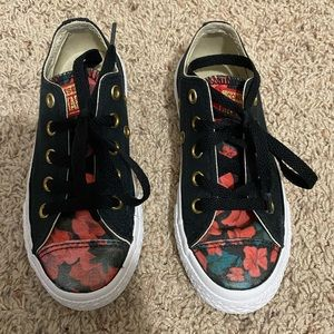 Kids Black and Red Floral Converse
